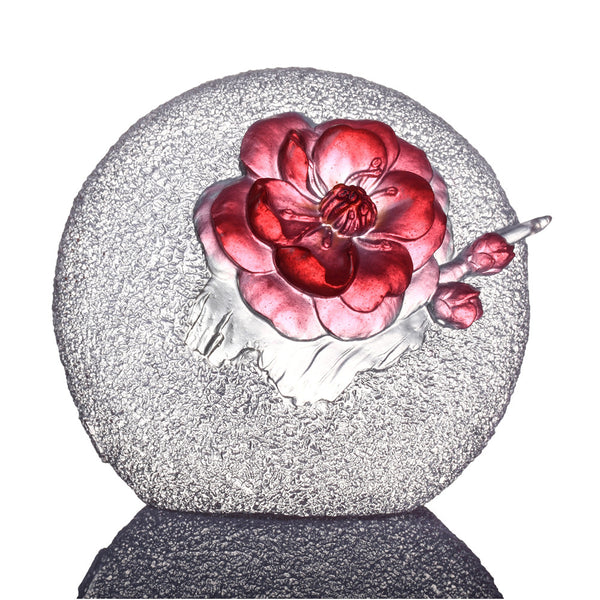 Burst of Spring (Determination), Plum Blossom Flower Figurine - LIULI Crystal Art