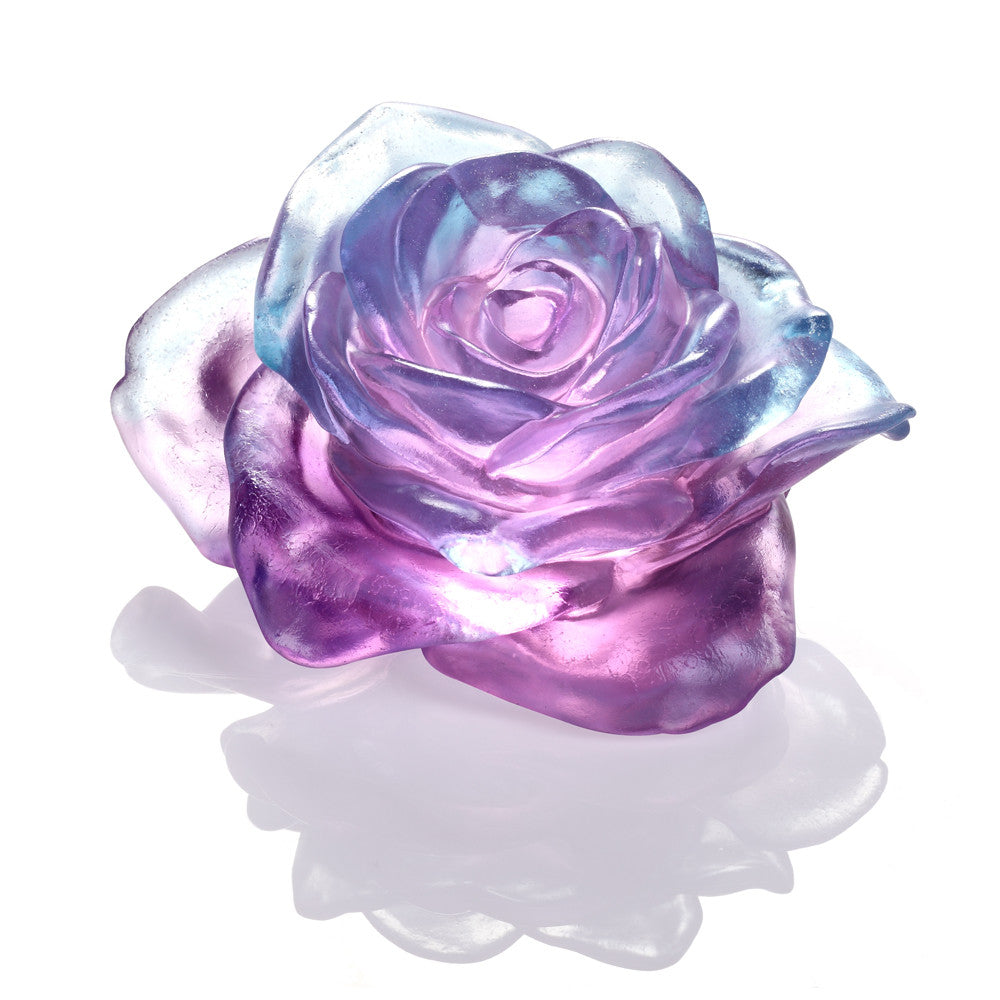 Crystal Flower, Rose, Amorous World - LIULI Crystal Art