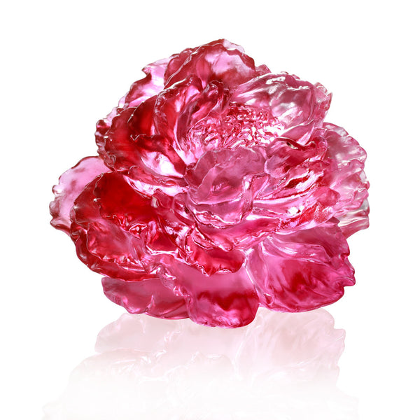Peony Flower Figurine (Blessing) - Prosperous Heart, Prosperous World - LIULI Crystal Art | Collectible Glass Art