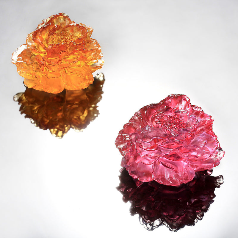 Crystal Flower, Peony, Prosperous Heart, Prosperous World - LIULI Crystal Art