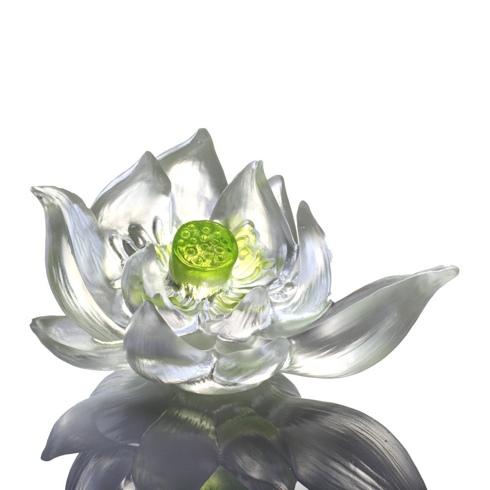 Crystal Flower, Lotus, Your Tranquil Heart - LIULI Crystal Art - Green Clear.