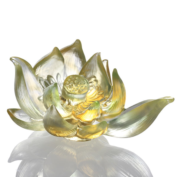 Your Tranquil Heart (Purity & Peace) - Lotus Flower Figurine - LIULI Crystal Art | Collectible Glass Art