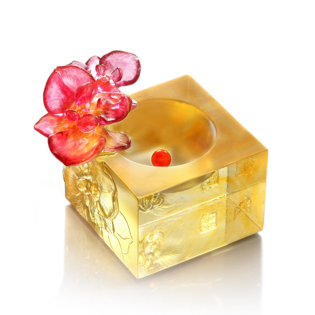 Crystal Flower, Moth Orchid, Red Radiance - LIULI Crystal Art - Amber / Gold Red Clear.
