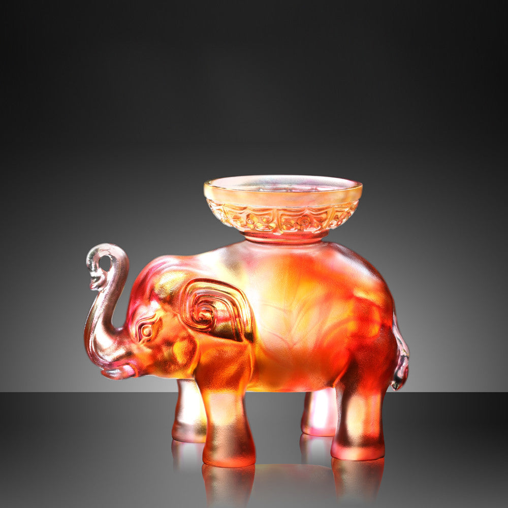 Step by Promising Step, Auspicious Elephant Figurine (Success) - LIULI Crystal Art - [variant_title].
