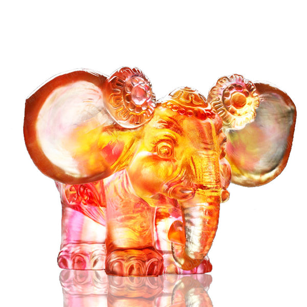 Fragrance of Pleasant Words for My Ears - Elephant Figurine (Listen to Praise) - LIULI Crystal Art | Collectible Glass Art