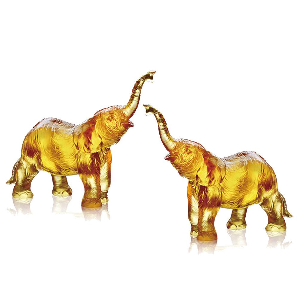 Forever Toward the Sky (Ambition) - Elephant Figurines (Set of 2) - LIULI Crystal Art - Amber.