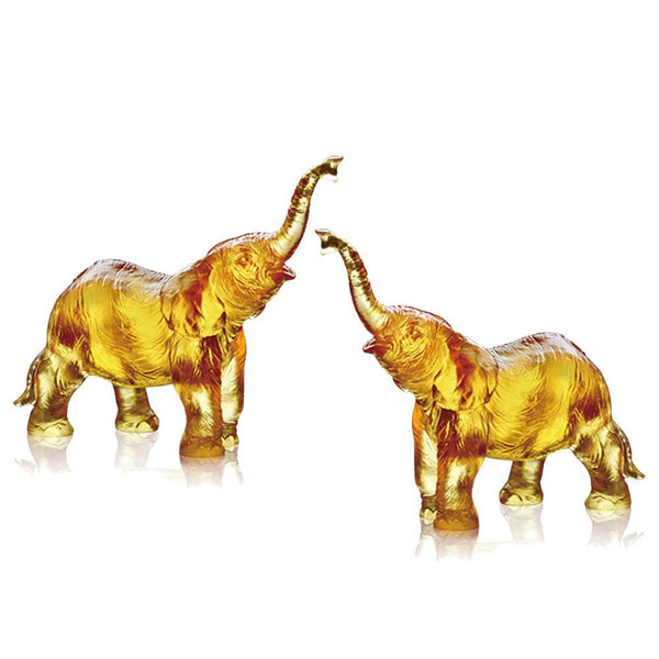 Forever Toward the Sky (Ambition) - Elephant Figurines (Set of 2) - LIULI Crystal Art | Collectible Glass Art