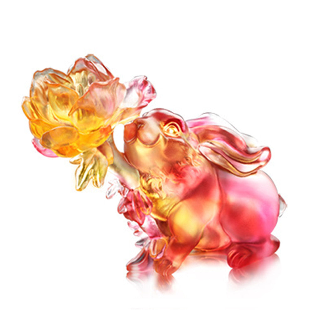 Lingering Fragrance of Goodness in the Heart (Goodness) - Bunny Rabbit Figurine - LIULI Crystal Art - Amber / Gold Red.