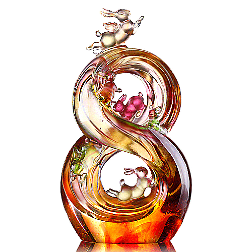 Crystal Bunny, Rabbit, Lucky No. 8, Ascending Road of Splendor - LIULI Crystal Art