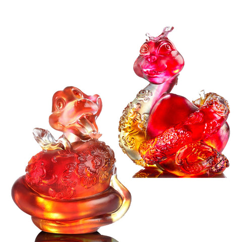 "Snake Figurines (Joyful Love) - ""Happiness is to Embrace"" (Set of 2)"