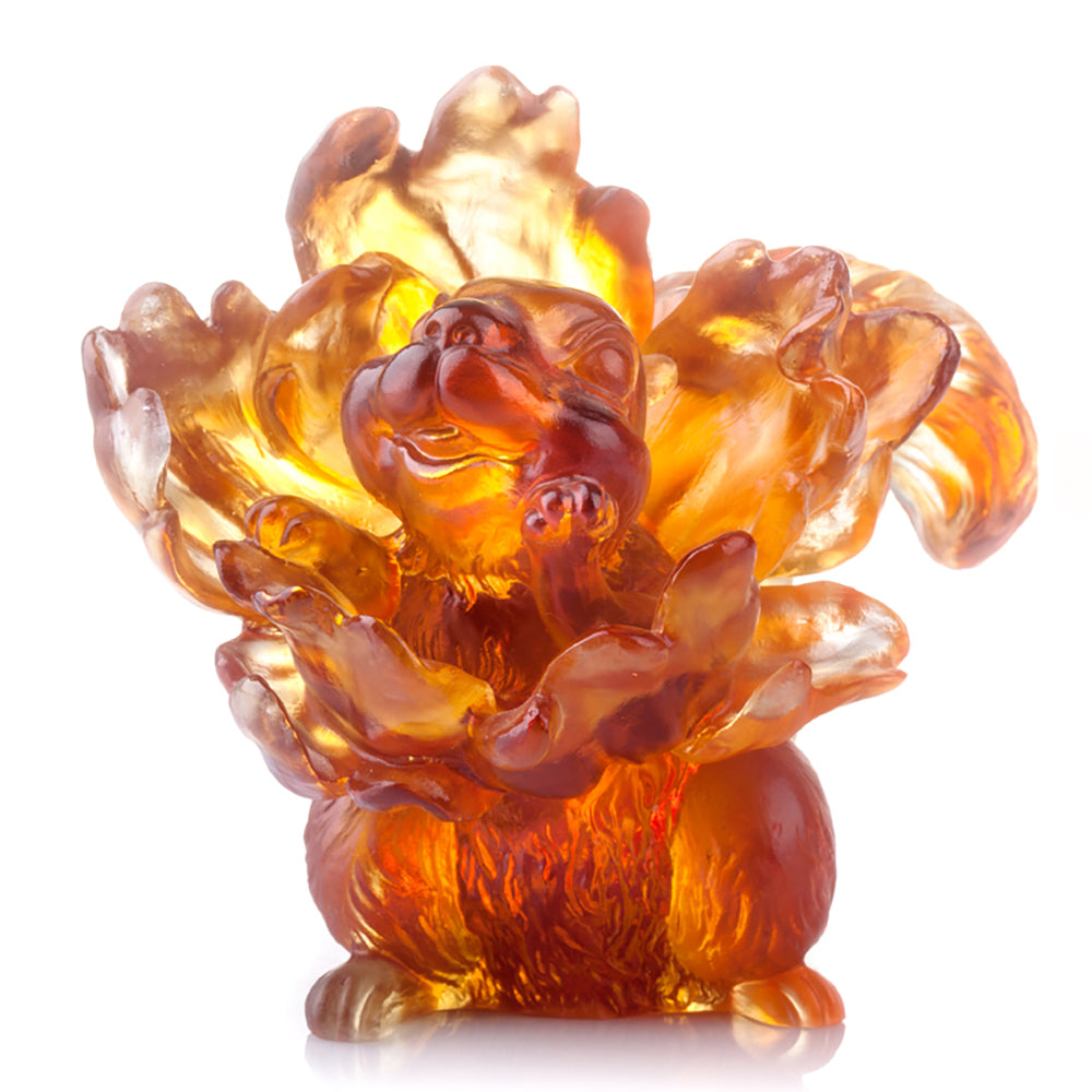 I Come From the Flowers (Love All Around) - Crystal Squirrel Figurine - LIULI Crystal Art - Dark Amber / Light Amber.