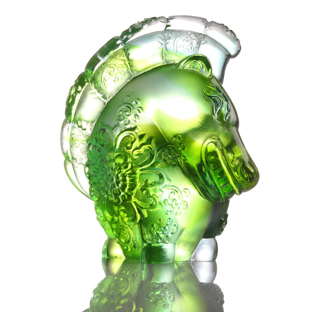 Crystal Animal, Horse, Jovial in Good Spirit - LIULI Crystal Art - Green.