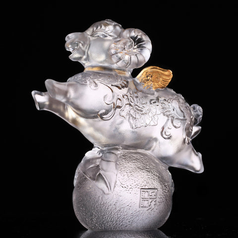 "Crystal Sheep Figurine (My Dream) - ""With Wings, I Soar"" (Gold Leaf Edition)"