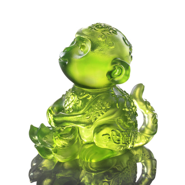 Monkey Figurine (Contentment) - Forever Happy - LIULI Crystal Art | Collectible Glass Art