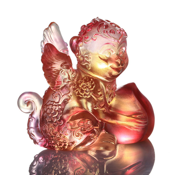 Monkey Figurine (Ambition) - Little Winged Prodigy - LIULI Crystal Art | Collectible Glass Art