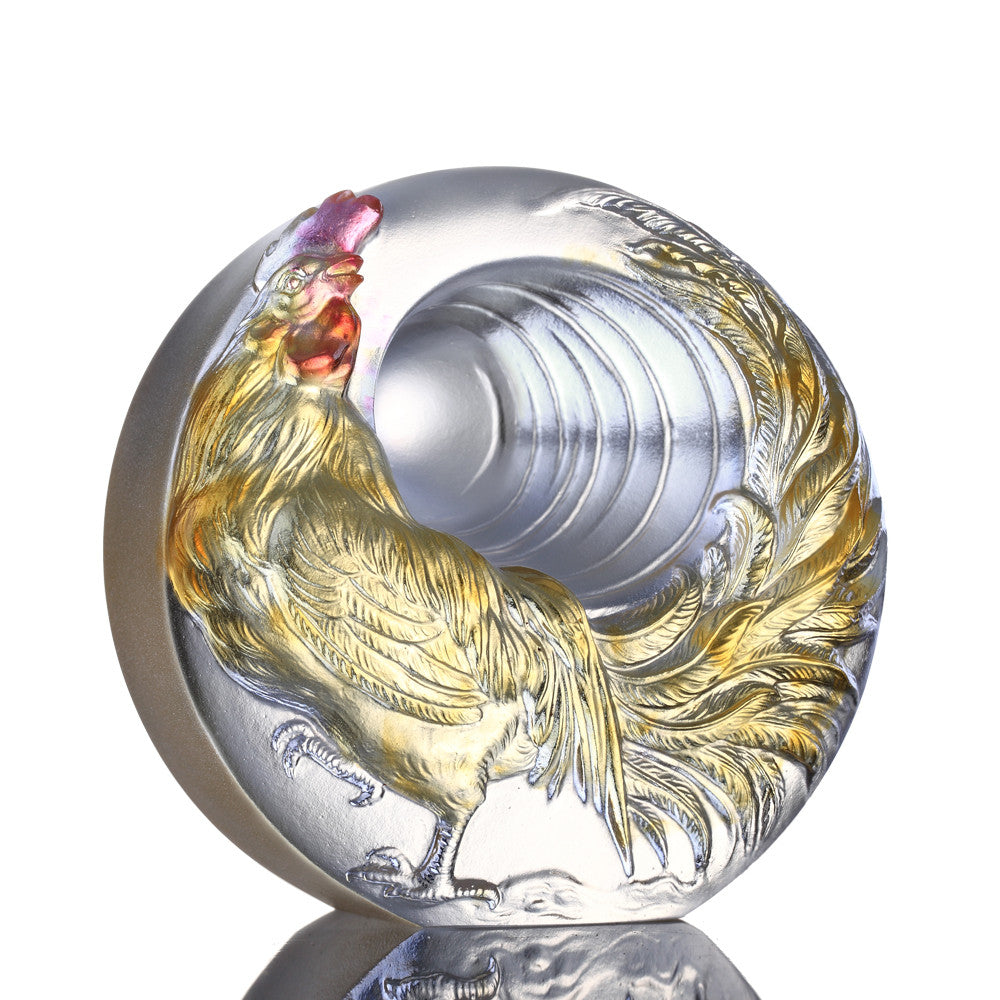 Sun Bird (Awakening) - Crystal Rooster Figurine Paperweight - LIULI Crystal Art - Amber / Gold Red Clear.