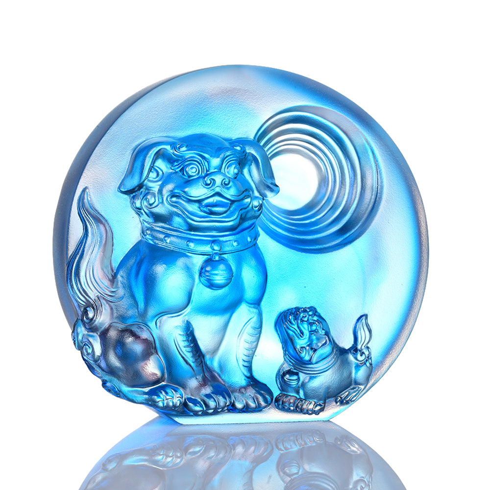 Generations of Fortune- Dog Figurine (Prosperous) - LIULI Crystal Art - Sky Blue.