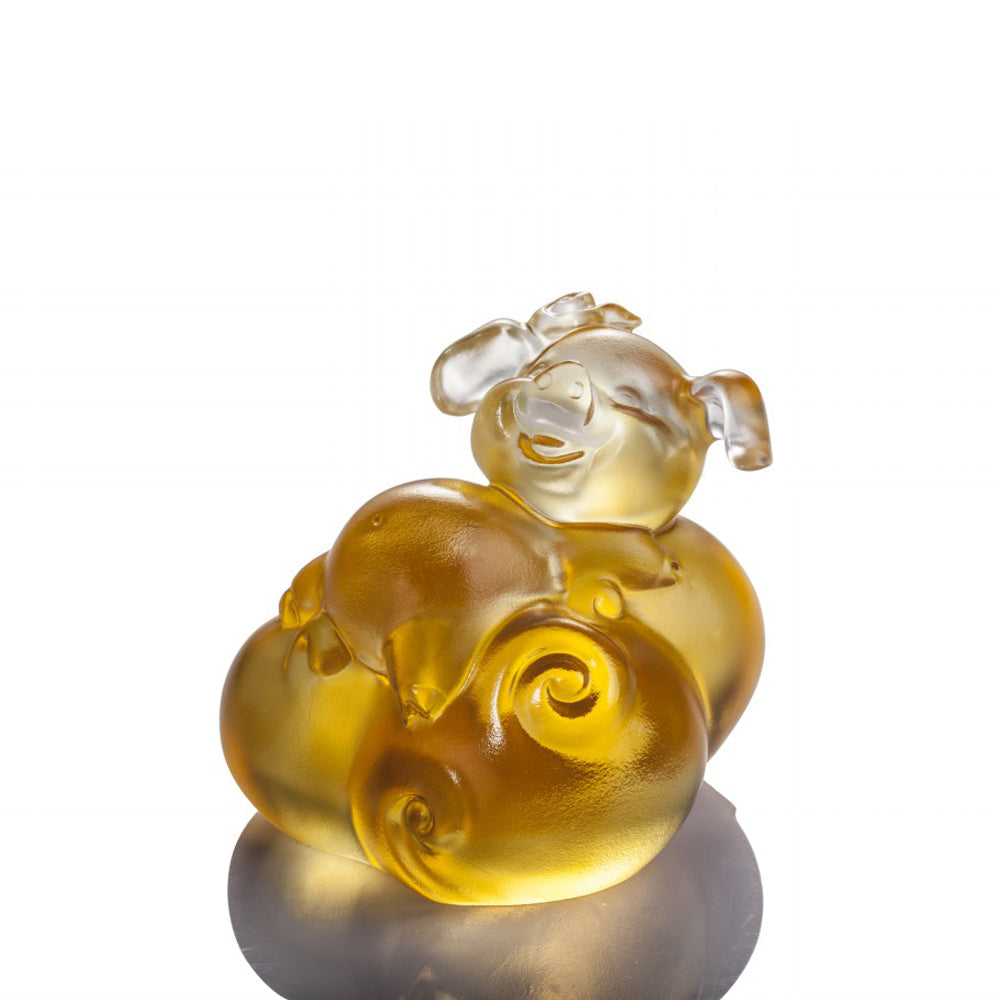 Crystal Animal, Pig, Fortune and Fulfillment - LIULI Crystal Art - Light Amber.