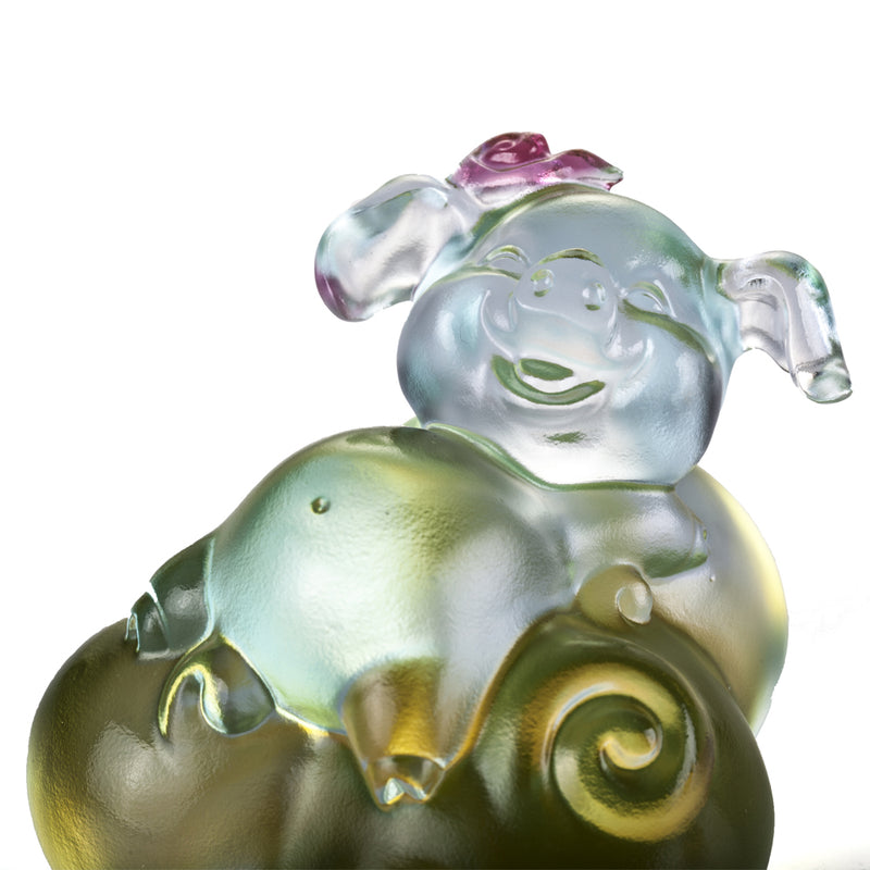 Crystal Animal, Pig, Fortune and Fulfillment - LIULI Crystal Art