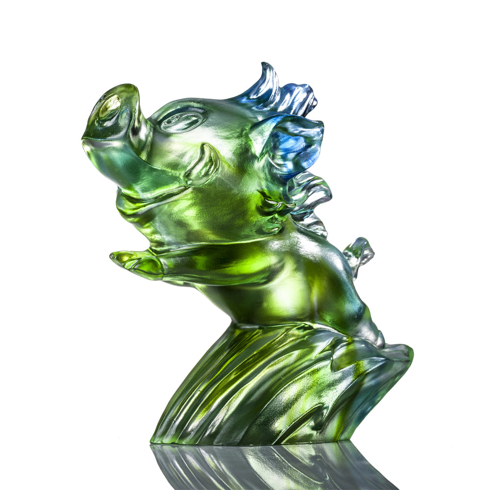 In Pursuit of Dreams (Ambitious) - Pig Figurine - LIULI Crystal Art - [variant_title].