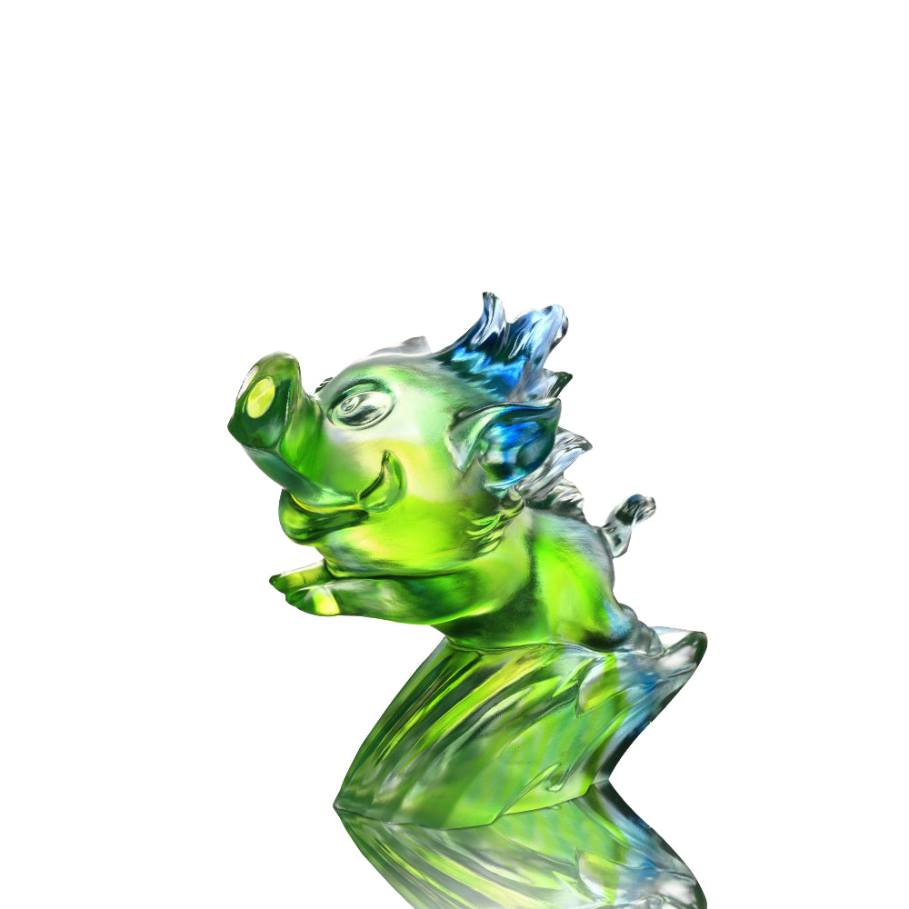 In Pursuit of Dreams (Ambitious) - Pig Figurine - LIULI Crystal Art - Bluish / Green Clear.