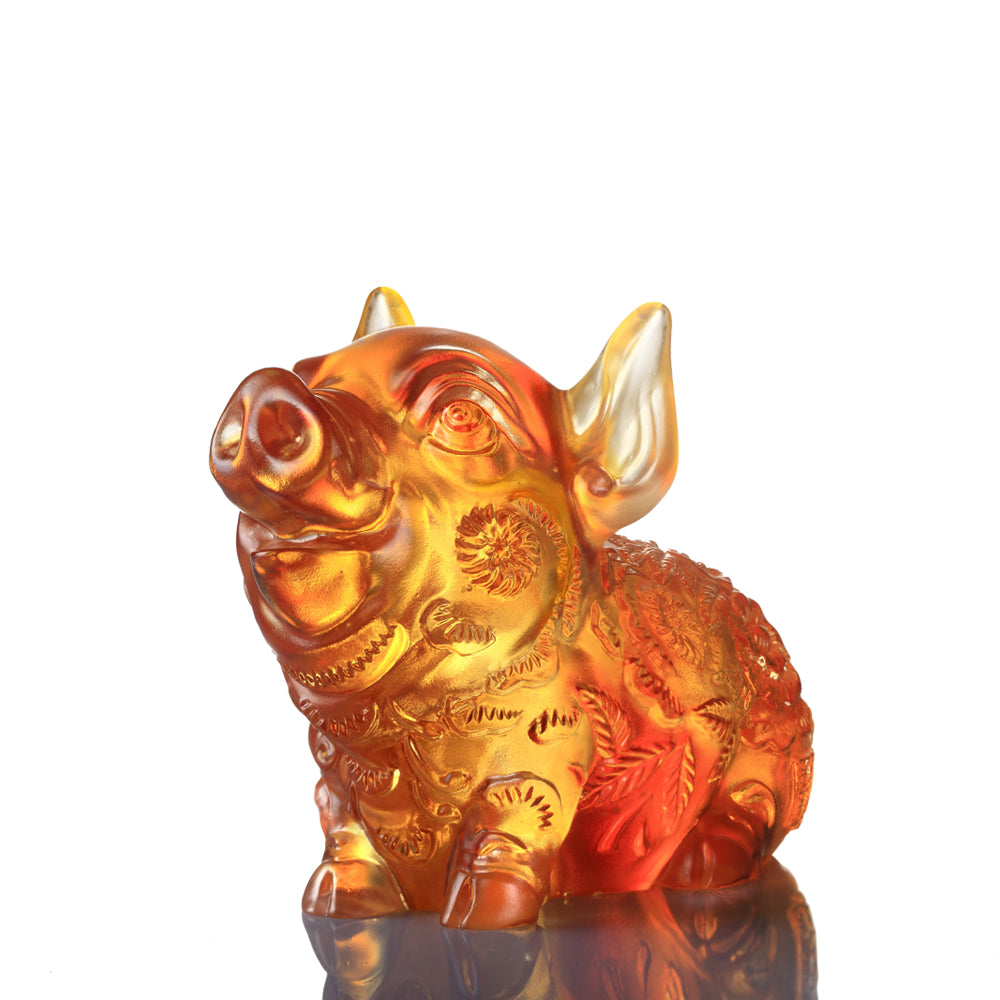 Crystal Animal, Pig, Piglet of Fortune - LIULI Crystal Art
