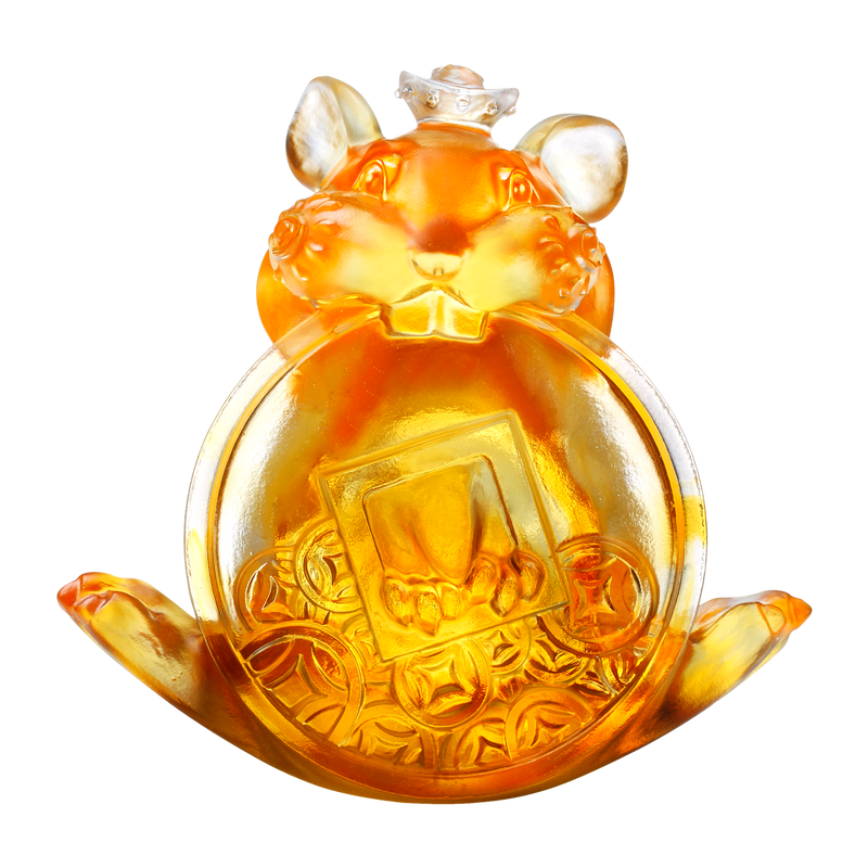 Crystal Animal, Mice, Mouse, Year of the Rat, Unshakable - LIULI Crystal Art