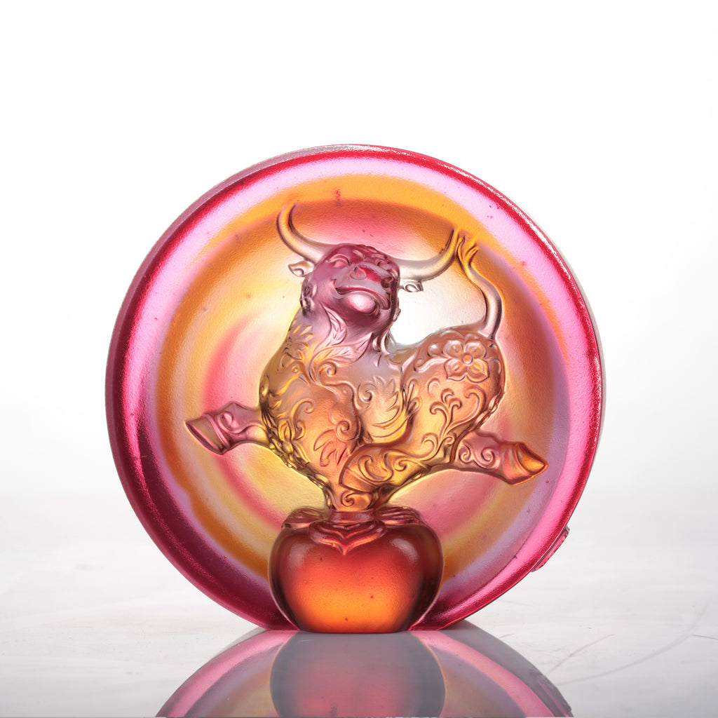 LIULI Year of the Ox Meaning Crystal Paperweight The Joyful Spirit of the Ox