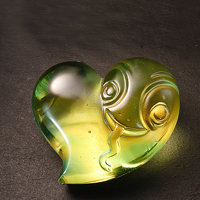 Crystal Paperweight, Zodiac, Snake, Heart Shape, The Snake-Its Star, Its Heart - LIULI Crystal Art