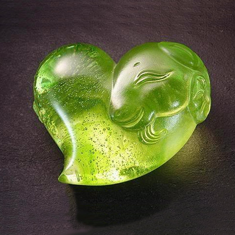 Crystal Paperweight, Zodiac, Sheep, Heart Shape, Its Star, Its Heart - LIULI Crystal Art