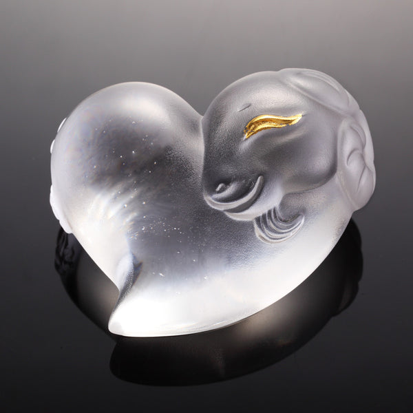 "Crystal Heart Shape (Zodiac, Sheep, Lovable Me) - ""Its Star, Its Heart"" (Gold Leaf Edition) - LIULI Crystal Art"