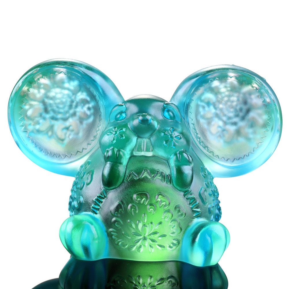 Come Fortune (Zodiac, Talented) - Year of the Rat Figurine - LIULI Crystal Art - Sky Blue/Spring Green.