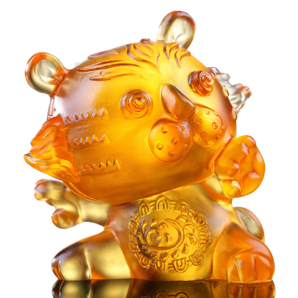 Little Valiant One (Zodiac, Courageous) - Tiger Figurine - LIULI Crystal Art - Light Amber.