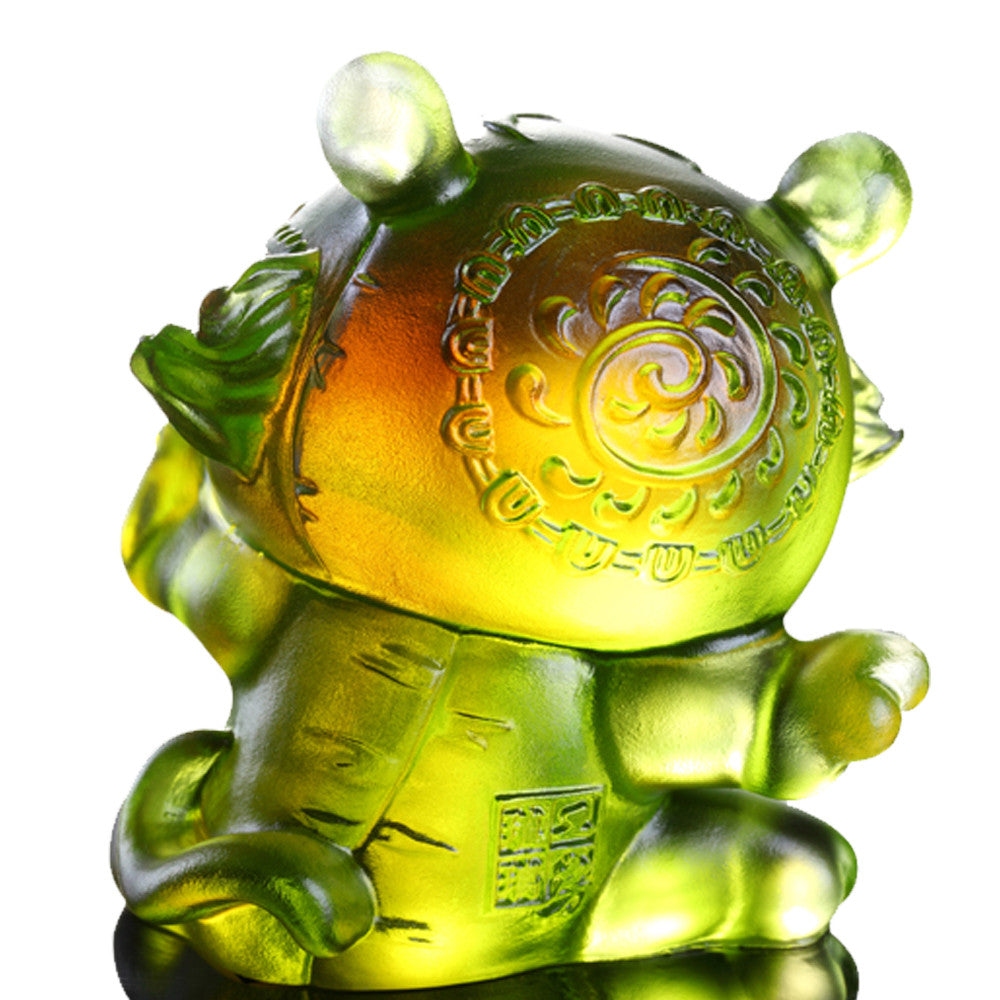 Little Valiant One (Zodiac, Courageous) - Tiger Figurine - LIULI Crystal Art - Amber/Green Clear.