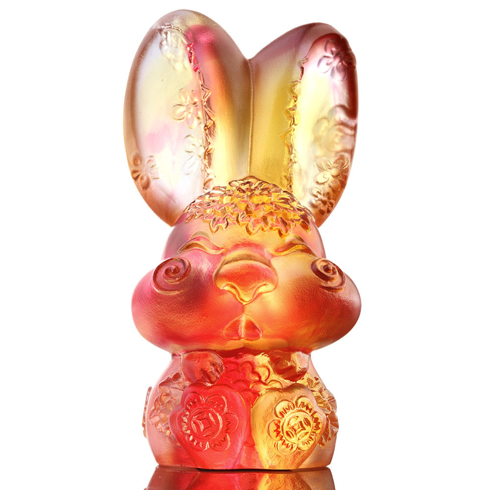 Darling (Zodiac, Lovable) - Bunny, Rabbit Figurine - LIULI Crystal Art - Amber / Gold Red.