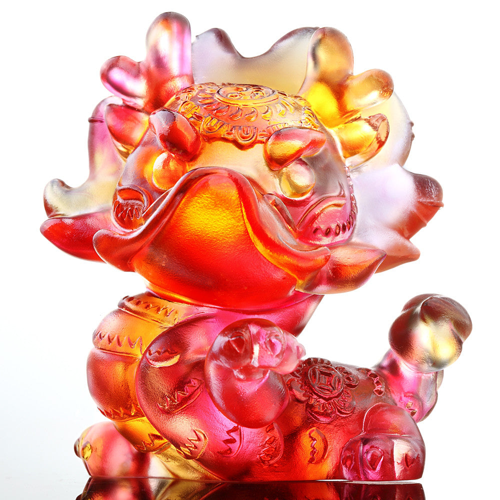 I Am Super (Zodiac, Pride) - Dragon Figurine - LIULI Crystal Art - Amber / Gold Red.