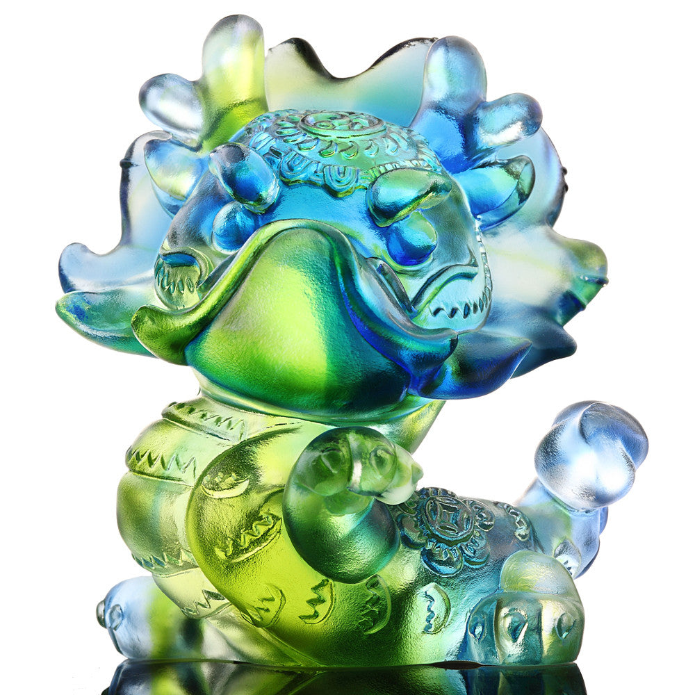 I Am Super (Zodiac, Pride) - Dragon Figurine - LIULI Crystal Art - Bluish/Green.
