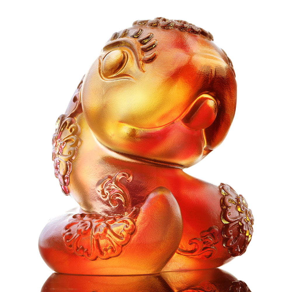 Serpentine (Zodiac, Moving Forward) - Snake Figurine - LIULI Crystal Art - Amber / Gold Red.