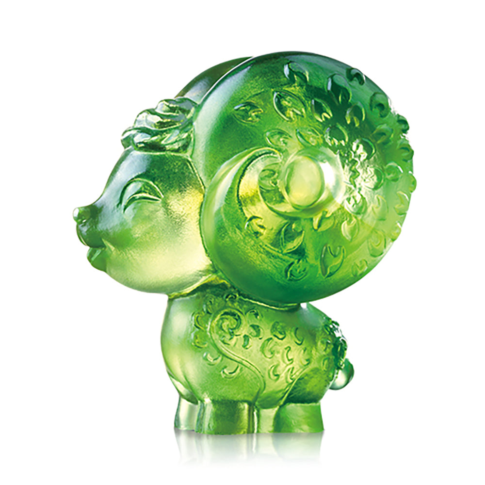 Dear (Lovable Me) - Sheep Figurine - LIULI Crystal Art - Amber / Green Clear.