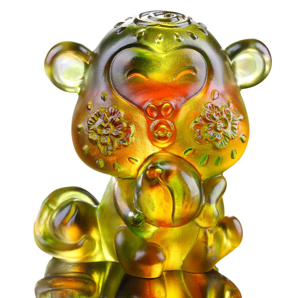 Little Saint (Zodiac, Ambition) - Monkey Figurine - LIULI Crystal Art - Amber / Green.