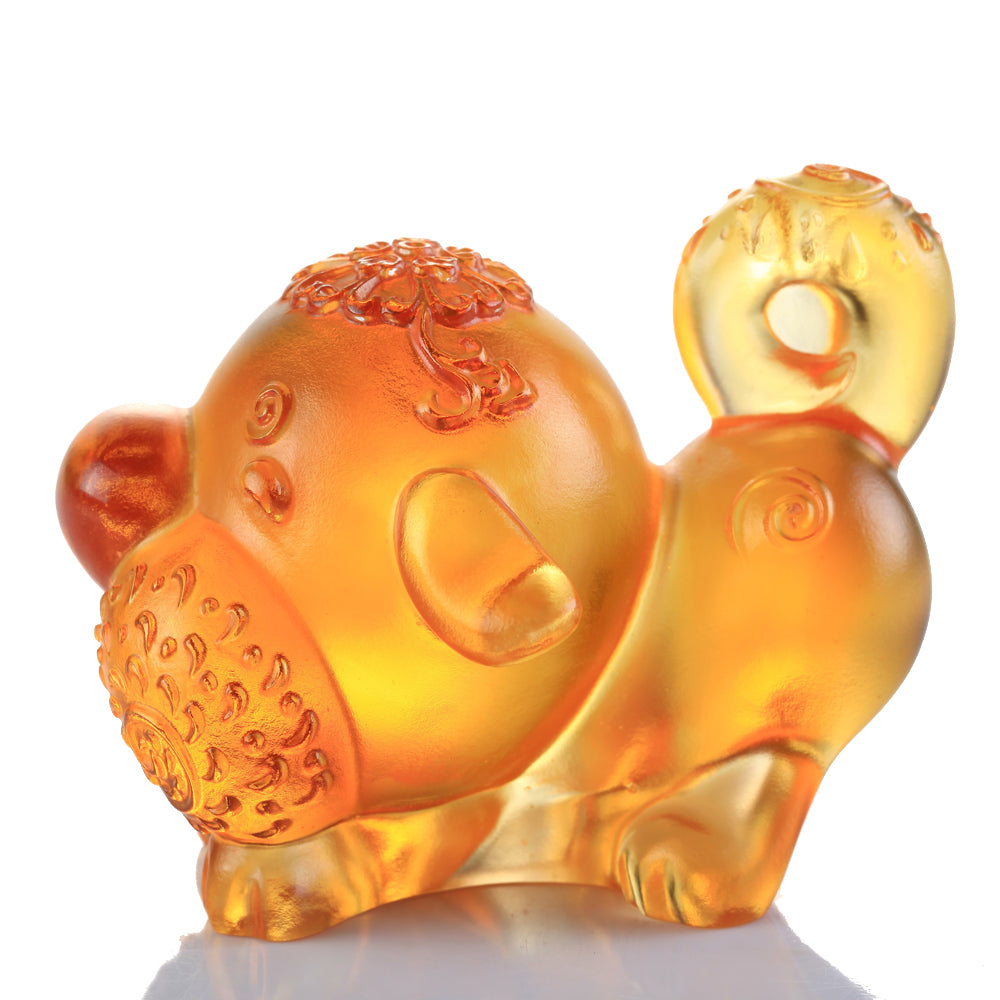 Crystal Zodiac, Animal, Year of the Dog, Prosperity Comes Along - LIULI Crystal Art