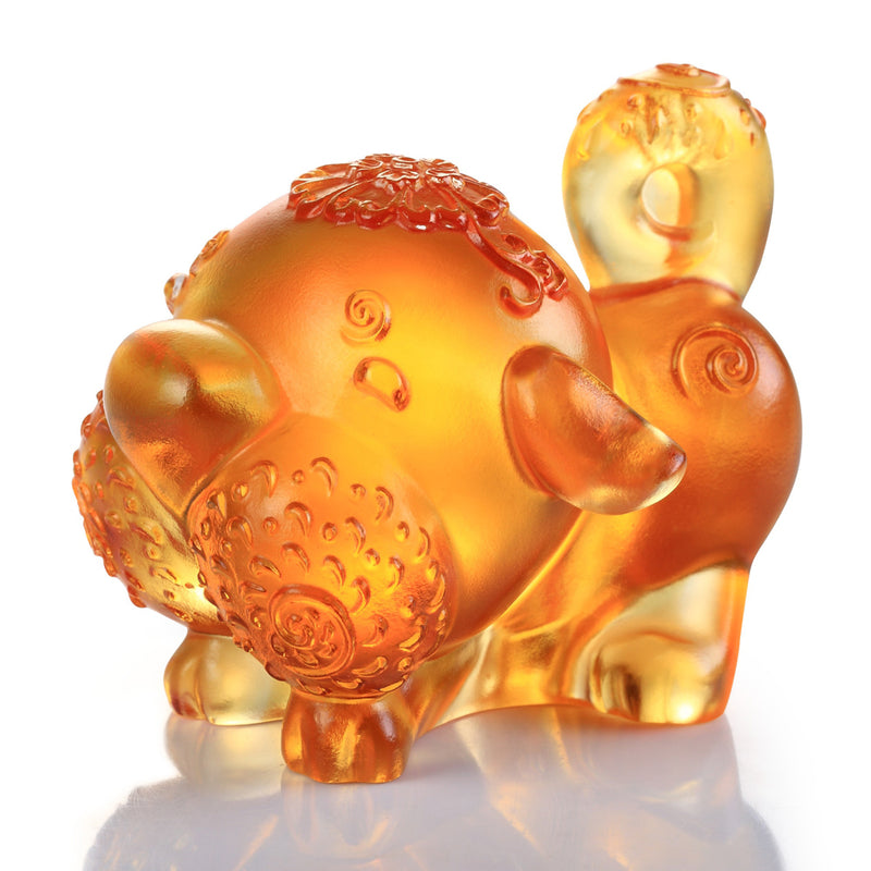 Prosperity Comes Along (Lucky Star) - Dog Figurine - LIULI Crystal Art - Dark Amber / Light Amber.