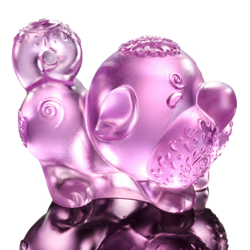 Prosperity Comes Along (Lucky Star) - Dog Figurine - LIULI Crystal Art - Pink.
