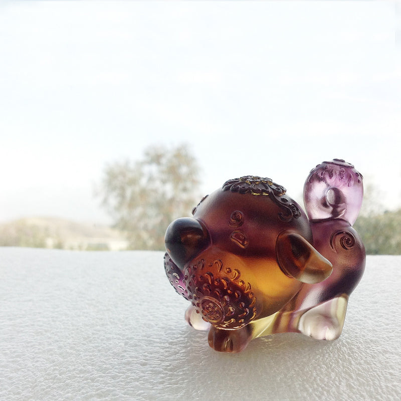 Prosperity Comes Along (Lucky Star) - Dog Figurine - LIULI Crystal Art - Amber / Purple Clear.