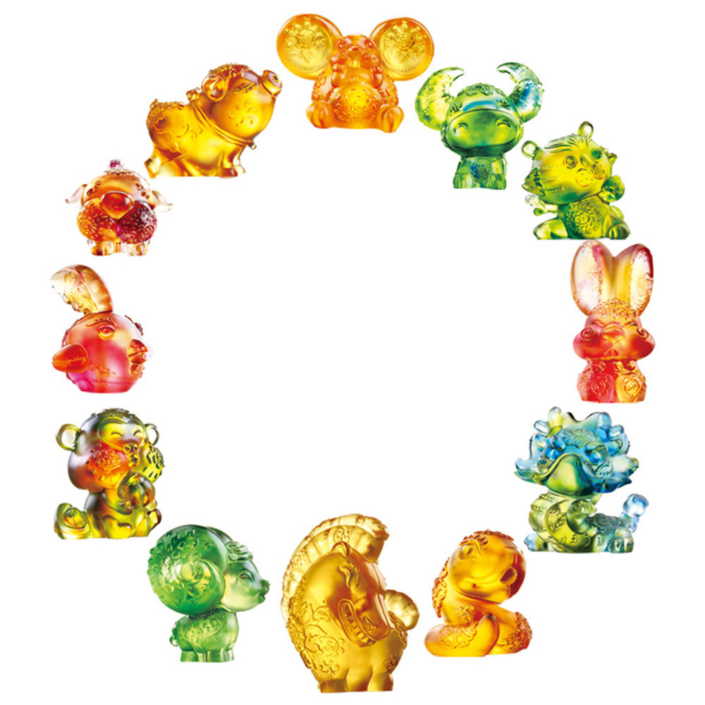 Chinese Zodiac Animals in Bright Florals (Set of 12) - LIULI Crystal Art - [variant_title].