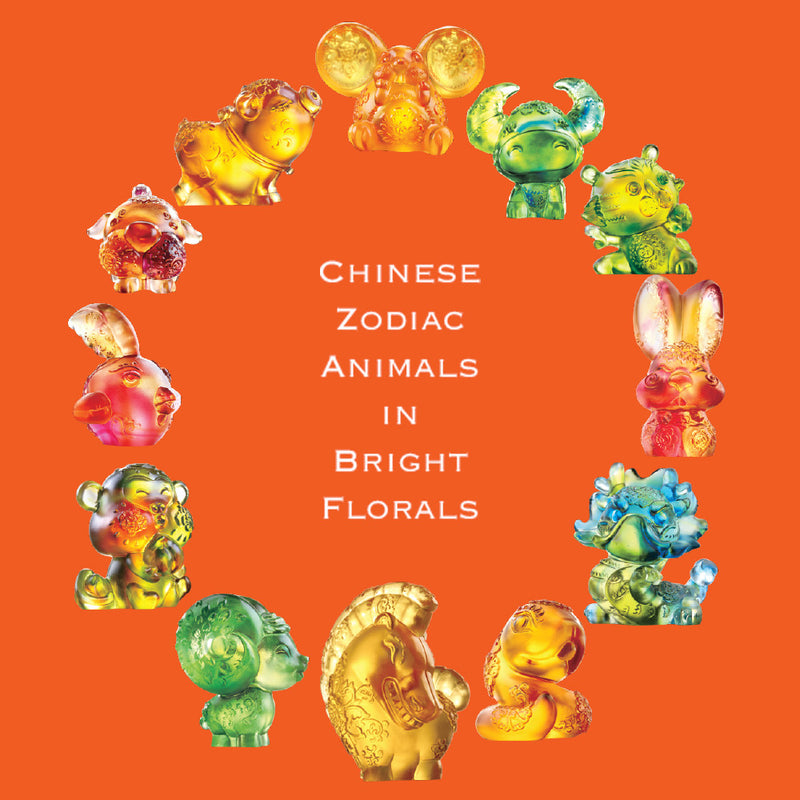 Crystal Zodiac Figurines, Chinese Zodiac Animals in Bright Florals (Set of 12) - LIULI Crystal Art
