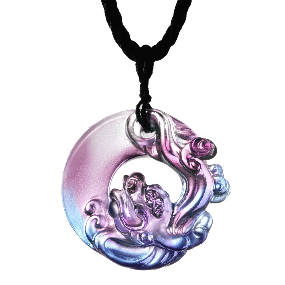 Crystal Necklace, Pendant, Dragon, Dance of the Dragon - LIULI Crystal Art - Royal Purple / Red Clear.