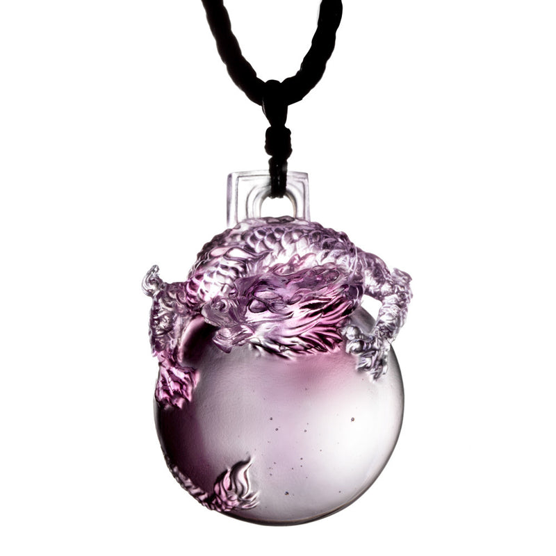 Dragon Pendant - The Sun Shines on the Dragon Within - LIULI Crystal Art - Purple.