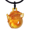 Dragon Pendant - The Sun Shines on the Dragon Within - LIULI Crystal Art - Amber.