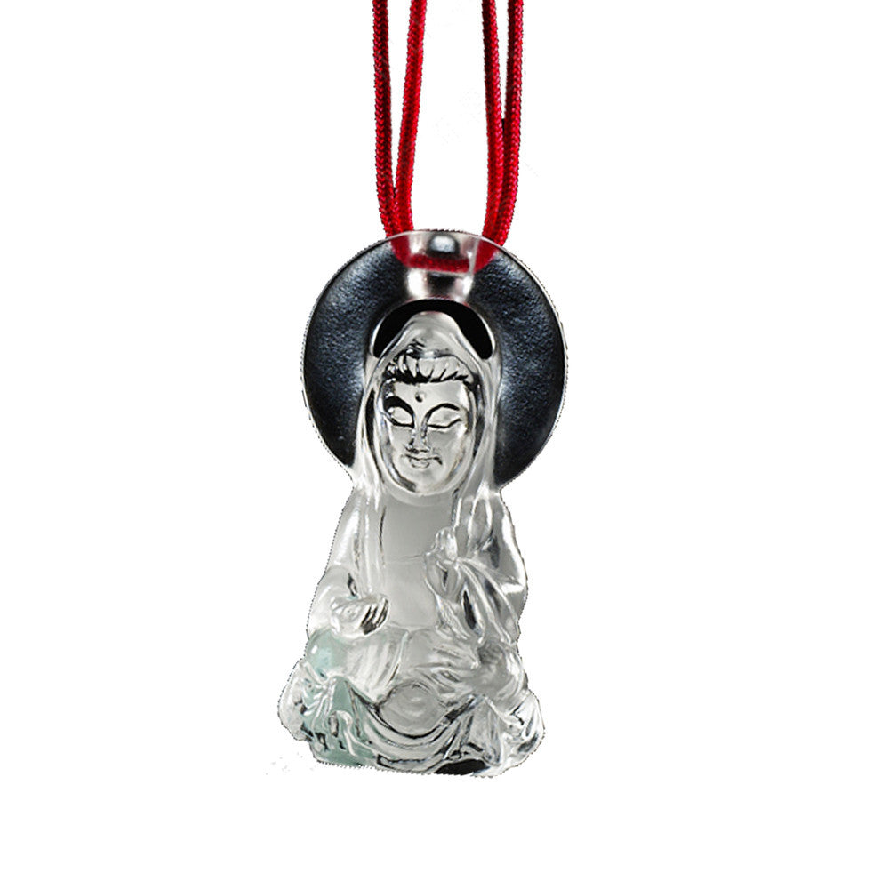 Crystal Pendant, Buddha, Guanyin, Merciful Illumination - LIULI Crystal Art